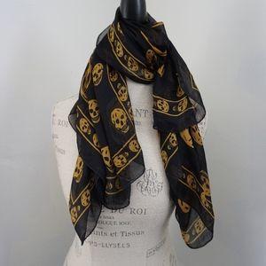 Alexander McQueen Silk Skull Scarf Black & Gold